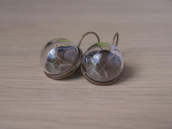 Стъклени обеци Глухарчета