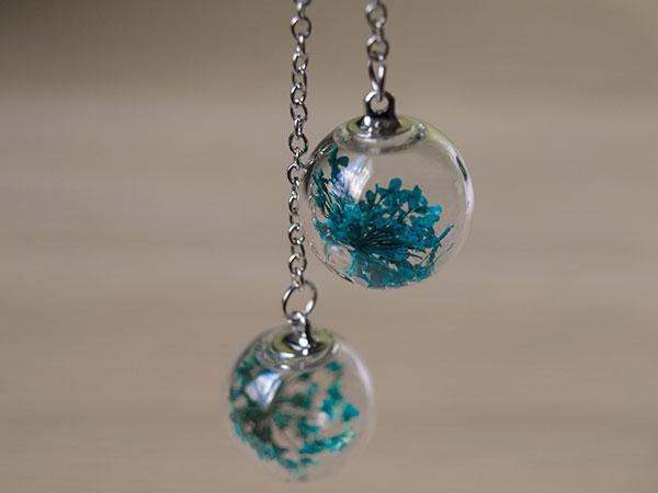 Елегантни стъклени обеци Сини цветя
